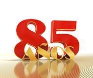 Golden number eighty five number 85 and the word. `years` against the backdrop of the prospect of gold lines. Translated from the Spanish - years. 3D Royalty Free Stock Image
