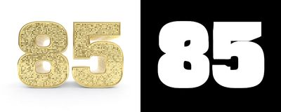 Golden number eighty five number 85 on white background with drop shadow and alpha channel. 3D illustration.  stock illustration