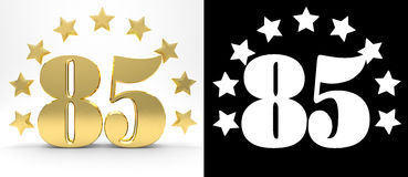 Golden number eighty five on white background with drop shadow and alpha channel , decorated with a circle of stars. Stock Image