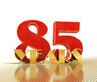 Golden number eighty five number 85 and the word. `years` against the backdrop of the prospect of gold lines. 3D illustration vector illustration