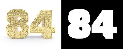 Golden number eighty four number 84 on white background with drop shadow and alpha channel. 3D illustration.  Royalty Free Illustration