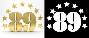 Golden number eighty nine on white background with drop shadow and alpha channel , decorated with a circle of stars. Royalty Free Stock Images