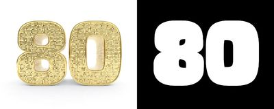 Golden number eighty number 80 on white background with drop shadow and alpha channel. 3D illustration.  Stock Illustration
