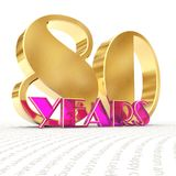 Golden number eighty number 80 and the word. `years` against the backdrop of the prospect of greeting text. 3D illustration Stock Images