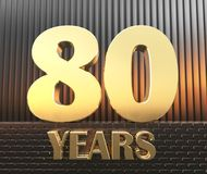Golden number eighty number 80 and the word. `years` against the background of metal rectangular parallelepipeds in the rays of sunset, 3D illustration Royalty Free Stock Photography
