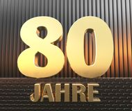 Golden number eighty number 80 and the word. `years` against the background of metal rectangular parallelepipeds in the rays of sunset.  Translated from the Royalty Free Stock Image