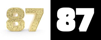 Golden number eighty seven number 87 on white background with drop shadow and alpha channel. 3D illustration.  royalty free illustration