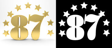 Golden number eighty seven on white background with drop shadow and alpha channel , decorated with a circle of stars. Royalty Free Stock Images