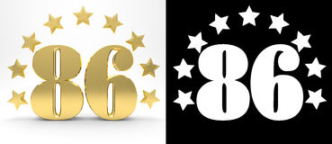 Golden number eighty six on white background with drop shadow and alpha channel , decorated with a circle of stars. Royalty Free Stock Photography