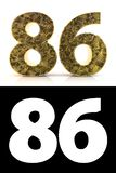 Golden number eighty-six years style Zentangle. Golden number eighty-six 86 years on white background with pattern style Zentangle, drop shadow and alpha channel stock illustration