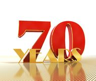 Golden number eighty number 70 and the word. `years` against the backdrop of the prospect of gold lines. 3D illustration Royalty Free Stock Images