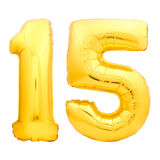 Golden number 15 fifteen made of inflatable balloon. Isolated on white background Stock Photo