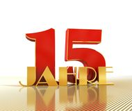 Golden number fifteen number 15 and the word. `years` against the backdrop of the prospect of gold lines. Translated from the German - years. 3D illustration royalty free illustration