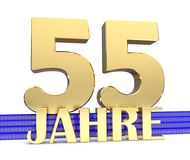 Golden number fifty five and the inscription years on the blue stairs with golden symbols endless knot. Translated from the German. Years. 3D illustration Stock Photos