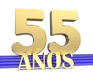 Golden number fifty five and the inscription years on the blue stairs with golden symbols endless knot. Translated from the Spanis. H - years. 3D illustration Royalty Free Stock Photography