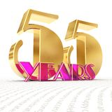 Golden number fifty five number 55 and the word. `years` against the backdrop of the prospect of greeting text. 3D illustration royalty free illustration