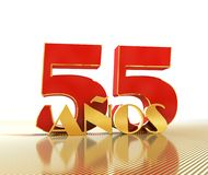 Golden number fifty five number 55 and the word. `years` against the backdrop of the prospect of gold lines. Translated from the Spanish - years. 3D stock illustration