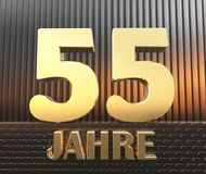 Golden number fifty five number 55 and the word. `years` against the background of metal rectangular parallelepipeds in the rays of sunset. Translated from the vector illustration