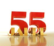 Golden number fifty five number 55 and the word. `years` against the backdrop of the prospect of gold lines. Translated from the German - years. 3D illustration stock illustration
