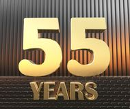 Golden number fifty five number 55 and the word. `years` against the background of metal rectangular parallelepipeds in the rays of sunset, 3D illustration royalty free illustration