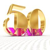 Golden number fifty number 50 and the word. `years` against the backdrop of the prospect of greeting text. 3D illustration Royalty Free Stock Image