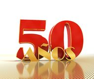Golden number fifty number 50 and the word. `years` against the backdrop of the prospect of gold lines. Translated from the Spanish - years. 3D illustration Stock Photo