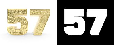 Golden number fifty seven number 57 on white background with drop shadow and alpha channel. 3D illustration.  Royalty Free Stock Photo