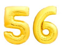 Golden number 56 fifty six made of inflatable balloon Stock Photo