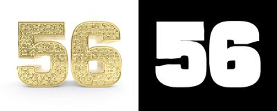 Golden number fifty six number 56 on white background with drop shadow and alpha channel. 3D illustration.  vector illustration