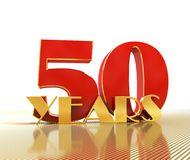 Golden number fifty number 50 and the word. `years` against the backdrop of the prospect of gold lines. 3D illustration Royalty Free Stock Image