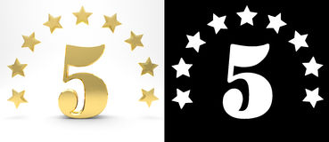 Golden number five on white background with drop shadow and alpha channel , decorated with a circle of stars. 3D illustration Stock Image