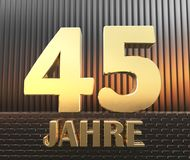 Golden number forty five number 45 and the word. `years` against the background of metal rectangular parallelepipeds in the rays of sunset.  Translated from the Stock Photography