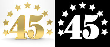 Golden number forty five on white background with drop shadow and alpha channel , decorated with a circle of stars. Royalty Free Stock Images