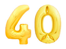 Golden number 40 forty made of inflatable balloon Stock Photography