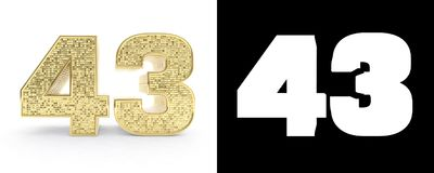 Golden number forty three number 43 on white background with drop shadow and alpha channel. 3D illustration.  vector illustration