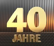 Golden number forty number 40 and the word. `years` against the background of metal rectangular parallelepipeds in the rays of sunset.  Translated from the Stock Photography