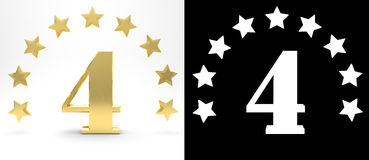Golden number four on white background with drop shadow and alpha channel , decorated with a circle of stars. 3D illustration Stock Images