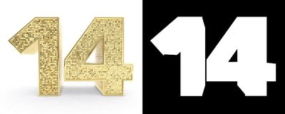 Golden number fourteen number 14 on white background with drop shadow and alpha channel. 3D illustration.  vector illustration