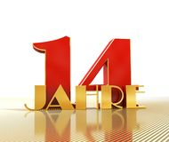 Golden number fourteen number 14 and the word. `years` against the backdrop of the prospect of gold lines. Translated from the German - years. 3D illustration Stock Photography