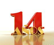 Golden number fourteen number 14 and the word. `years` against the backdrop of the prospect of gold lines. Translated from the Spanish - years. 3D illustration Royalty Free Stock Photography