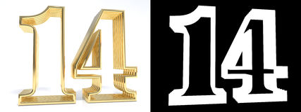 Golden number fourteen on white background with drop shadow. And alpha channel. 3D illustration royalty free illustration