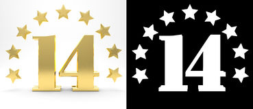 Golden number fourteen on white background with drop shadow and alpha channel , decorated with a circle of stars. 3D illustration.  Stock Photo