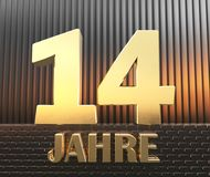 Golden number fourteen number 14 and the word. `years` against the background of metal rectangular parallelepipeds in the rays of sunset. Translated from the stock illustration