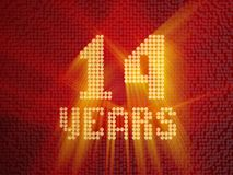 Golden number fourteen years. 3D render. Golden number fourteen years number 14 years dotted font, top view, with light rays. 3D render royalty free illustration