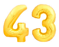 Golden number 43 fourty three made of inflatable balloon on white Stock Images