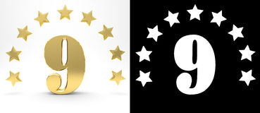 Golden number nine on white background with drop shadow and alpha channel , decorated with a circle of stars. 3D illustration Royalty Free Stock Photos