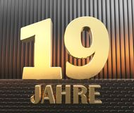 Golden number nineteen number 19 and the word. `years` against the background of metal rectangular parallelepipeds in the rays of sunset.  Translated from the Stock Image