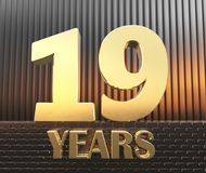 Golden number nineteen number 19 and the word years against the background of metal rectangular parallelepipeds in the. Rays of sunset. 3D illustration Stock Photography