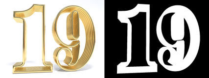 Golden number nineteen on white background with drop shadow and. Alpha channel. 3D illustration Royalty Free Stock Photography