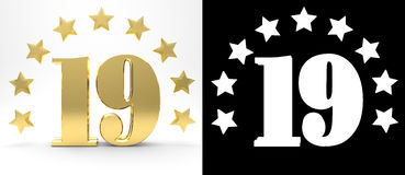 Golden number nineteen on white background with drop shadow and alpha channel , decorated with a circle of stars. 3D illustration Royalty Free Stock Photography